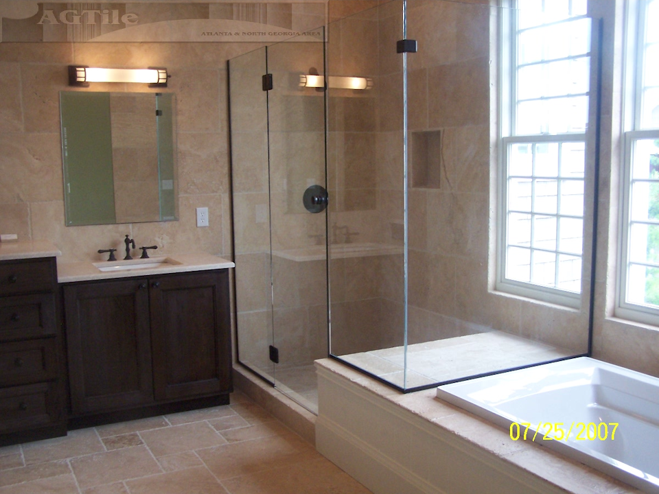 Master Bathroom History travertine- durable and attractive natural stone. history