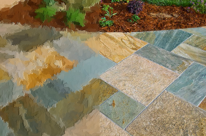 multicolor slate tile walkway